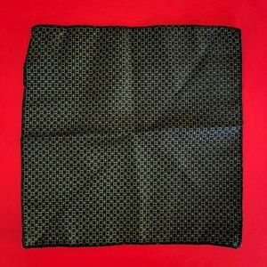 Men's Polyester Green/Black/Blue Pocket Square New